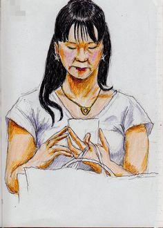 『白いTシャツのお姉さん(通勤電車でスケッチ) This is a woman of sketch wearing a white T-shirt. It drew in a commuter train.』
