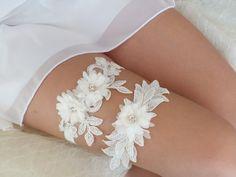 free ship ivory lace garter set bridal garter by ByMiracleBridal