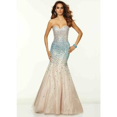 235c67a41d Strapless Beaded Corset Back Nude Turquoise Mermaid Dress