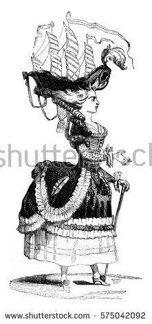 Coiffure a la Belle Poule, vintage engraved illustration. Magasin Pittoresque 1841.