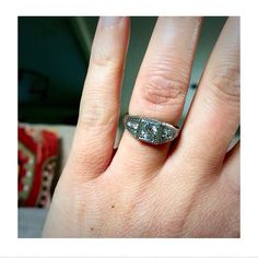 """A customer with her """"new"""" Art Deco diamond transitional cut ring from the 1930's."""