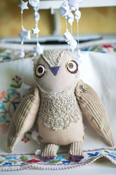 Owly owl's  cousin, soft  art toy by Wassupbrothers. $60.00, via Etsy.