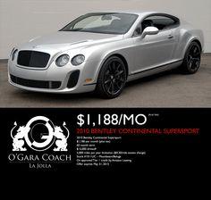 Supersports! (888) 904-6205 - www.BentleyLaJolla.com Lease Specials, Supersport, Bentley Continental, La Jolla