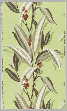 Sidewall | USA, ca. 1953 | Machine-printed on ribbed ground | Tan and white bamboo-type stems with tan and brown leaves and red flowers on a lime green ground | Cooper-Hewitt