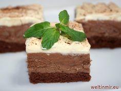 Recept für die Schnitte mit Nutella- Haselnusscreme und Karamellsahne.