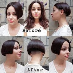 Much better with an undercut bob Round Face Haircuts, Short Bob Haircuts, Layered Haircuts, Stacked Bob Hairstyles, Pretty Hairstyles, Cut My Hair, Your Hair, Before And After Haircut, Red Ombre Hair