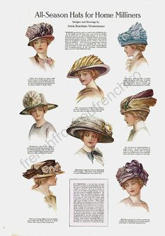 Vintage outfits fashion hats ideas for 2019 Victorian Hats, Edwardian Era, Edwardian Fashion, Vintage Fashion, 1930s Fashion, Fashion Fashion, Historical Costume, Historical Clothing, Vintage Outfits