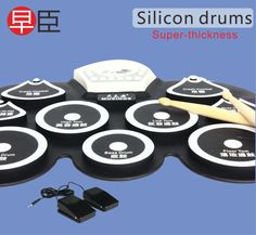 [Visit to Buy] silicon mini usb drum kit electronic bass drum pedal pad kids toy machine set with drumsticks percussion musical instrument #Advertisement