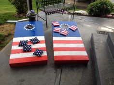 Cornhole | 20 Words That Have A Different Meaning In The Midwest Instructions not included, but this would be simple enough to replicate with the right paint, star stencils and fabric.  Very cool!