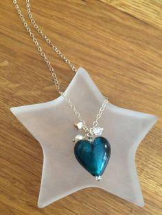 Teal Glass heart necklace Sterling Silver by SheRocksGemjewellery