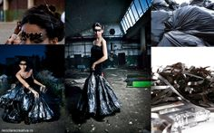 recycled fashion: dress from cassette tape, garbage bags, an old velvet skirt and makeup with targets from an old belt