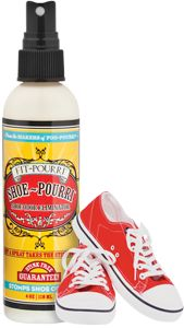 Great Idea!  Shoe~Pourri Shoe Deodorizing Spray Stomp Shoe Odor! Specifically designed to destroy your shoe odor on a molecular level by actively reacting with the bad smell molecules. Scent: An Effective Fresh Blend of Cedarwood, Eucalyptus and Grapefruit Price: $12.95