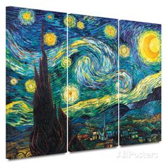 Starry Night 3 piece gallery-wrapped canvas Posters by Vincent van Gogh at AllPosters.com