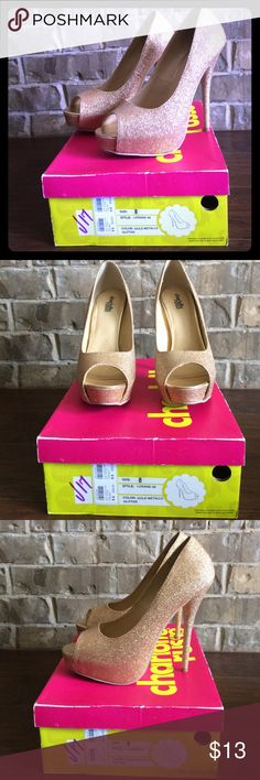 Selling this Gold Party Pumps on Poshmark! My username is: beeburd01. #shopmycloset #poshmark #fashion #shopping #style #forsale #Charlotte Russe #Shoes