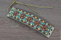 Купить Браслет вышитый бисером на шнуровке, широкий, этнический, голубой - браслет из бисера