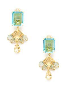 Blue Quartz, Green Amethyst, & Citrine Chandelier Earrings by Bounkit at Gilt