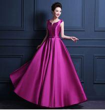Barato tamanho personalizado! 100 cores V neck cinto de laço longo vestido de noite invisível bolso praty vestidos comunhão mulheres vestido plus Size(China (Mainland))