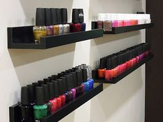 nail polish rack idea I LOVE! picture rails from ikea- best idea for nail polish that I've seen thus far.