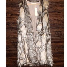 FAUX FUR VEST Long Patterned Jacket Wrap Coat Top Size XS/S. New with tags. $175 Retail + Tax.   Stunning faux fur vest with cream rayon lining.  Open, draped front. 2 side pockets.  The perfect addition to any outfit!   Acrylic, polyester.  Imported; ESCOfficial.    ❗️ Please - no trades, PP, holds, or Modeling.    Bundle 2+ items for a 20% discount!    Stop by my closet for even more items from this brand!  ✔️ Items are priced to sell, however reasonable offers will be considered when…