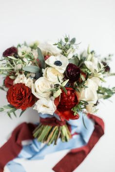 Burgundy and Dusty Blue Wedding Bouquet, romantic fall wedding flowers, ribbon wrapped bouquet by Courtney Inghram Events at Early Mountain Vineyards Burgundy Wedding Colors, Burgundy Bouquet, Maroon Wedding, Blue Bouquet, Burgendy Wedding, White Bouquets, Fall Wedding Bouquets, Fall Wedding Flowers, Fall Wedding Colors