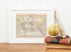 Typographic Quote Wall Art Oh Darling Let's be Adventurers by RubyRidgeStudios