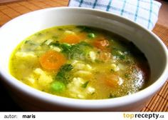 Rozpustíme tuk, přidáme dětskou krupičku a opražíme do světle nažloutlé ba. Soup Recipes, Snack Recipes, Cooking Recipes, Snacks, Czech Recipes, Detox Soup, Food 52, What To Cook, No Cook Meals
