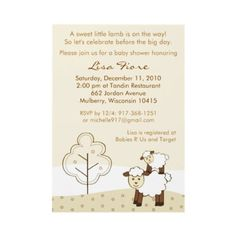 Sweet Little Lamb Baby Shower Invitations from http://www.zazzle.com/farm+animal+invitations