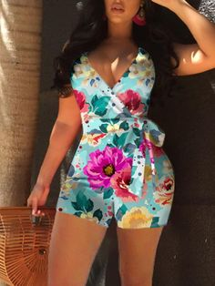 lovelywholesale / Cheap Rompers Lovely Leisure Floral Print Cyan One-piece Romper Spring Fashion Outfits, Fashion Wear, Sexy Outfits, Stylish Outfits, Sexy Dresses, Cute Outfits, Fashion 101, Summer Outfits, Rompers For Teens
