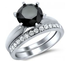 $1,299.00  2.25ct Six Prong Black Round Diamond Engagement Ring Bridal Set 14k White Gold
