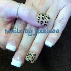 Pink&white/beige.  Nails by jessicaa  #acrylicnails #pinkandwhite #beige #nails #acrylic #cheetah #cheetahprint #short #opi #simple