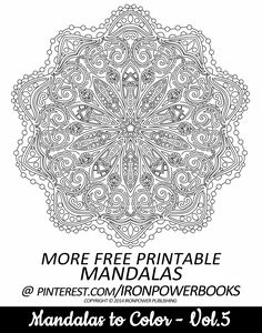 FREE Printable Mandala Intricate Coloring Page from @ironpowerbooks | This is from the book Mandalas to Color - Volume 5 visit http://www.amazon.com/Mandalas-Color-Mandala-Coloring-Adults/dp/149733716X for a paperback copy with over 50 Mandalas to color | Please use freely for personal non-commercial use