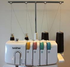"""serger thread hack by moonthirty, via Flickr -good way to make your own """"cone"""" thread for seldom used colors."""