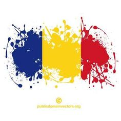 Vector flag of the Republic of Romania inside ink spatter shape.