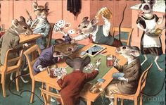 Mice in suits playing cards Alfred Mainzer (Eugen Hurtong)