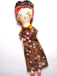 Rag doll cloth art doll cream linen
