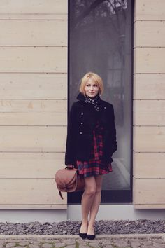 Women's Black Pea Coat, Red and Navy Plaid Skater Dress, Black Suede Pumps, Brown Leather Satchel Bag Black Pea Coats, Tartan Dress, Brown Leather Satchel, Black Suede Pumps, Winter Looks, Fashion History, Looking For Women, Men's Scarves, Outfit Shop