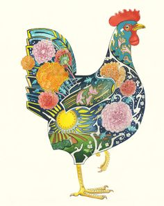 so which feathered friend do you think frequently gets to travel across the English Channel to France? The magnificent Rooster, or 'Le Coq Gaulois'!But why do the French like the Rooster so much? Well, it all started in ancient Rome. Chicken Tattoo, Chicken Drawing, Chicken Painting, Chicken Art, Rooster Art, Motifs Animal, Little Red Hen, Chickens And Roosters, Art Plastique