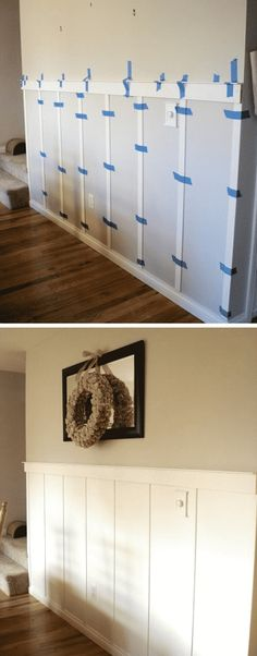 DIY wainscoting with strips of wood. The easiest way to update a dining room. A list of some of the best home remodeling ideas on a budget. Easy DIY, cheap and quick updates for your kitchen, living room, bedrooms and bathrooms to help sell your hou Diy Interior, Interior Design, Interior Painting, Diy Simple, Easy Diy, Home Renovation, Home Remodeling, Kitchen Remodeling, Cheap Home Decor