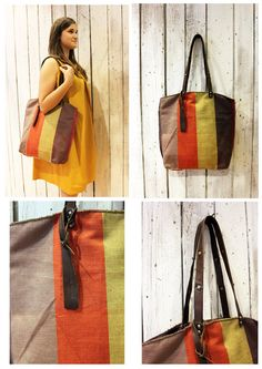ALLEGRA stripped Handmade rare and unique fabric & Leather Shopping bag\tote di LaSellerieLimited su Etsy