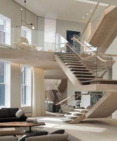 Penthouse loft residence in the SoHo Cast Iron Historic District is washed in natural light designed by Gabellini Sheppard Associates - CAANdesign | Architecture and home design blog