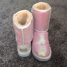Sequin uggs boots Nearly brand new, worn twice, super comfy, open to reasonable offers, only flaws are some small markings, barely noticable, no trades ugg runs big as a reminder UGG Shoes