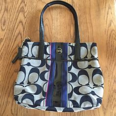 Coach handbag Like new! Leather accents and strap. Signature Coach fabric. Blue and fuchsia accent. Coach dust bag included. Coach Bags Shoulder Bags