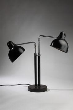 Double desk lamp, designed by Christian Dell for Kaiser Idell, Germany. 1930's.