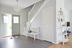 Inredning - Inspiration från Trivselhus Closet Under Stairs, Small Entry, Laundry Room Inspiration, Entry Hall, House Entrance, Loft Spaces, Stairways, Interior Decorating, Decoration