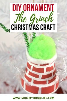 The Grinch Chimney DIY Ornament Idea Christmas Craft - These Grinch Chimney DIY Ornaments are seriously too cute, and too simple! Plus, they make perfect Christmas gifts as well. #Christmascraft #DIYOrnamentideas #Holidaycraftideas