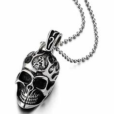 Stainless Steel Large Sugar Skull Pendant Necklace for Man with Red Cubic Zirconia with 30 in Wheat Chain XRSwSBy