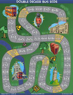 Chldren's Board Games - Math Facts - Double Decker Bus Ride