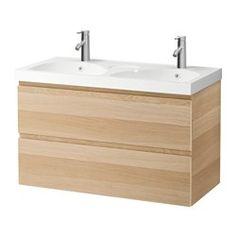 IKEA - GODMORGON / EDEBOVIKEN, Waschbeckenschrank/2 Schubl., Eicheneffekt weiß lasiert, , Inklusive 10 Jahre Garantie. Mehr darüber in der Garantiebroschüre.Leicht laufende, sanft schließende Schubladen mit Ausziehsperre.Die Fächergröße ist durch Versetzen der Trennstege leicht zu verändern.Voll ausziehbar für leichten Zugriff und guten Überblick über den Inhalt.Schubladen aus massivem Holz, Böden aus kratzfestem Melamin.Ein Doppelwaschbecken spart Zeit und mindert Stress, wenn mehrere…