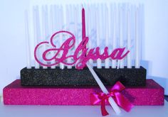 Simple All glitter Sweet 16 Candle Stand. (CUSTOM w/ Candles. U.S Shipping Offered). $150.00, via Etsy.