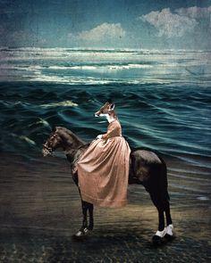 Fox Art Photo Collage - Art for the Nursery - Horse Art - Dreamlike Photography -8x10 Animal Photography -  The Fox and the Sea